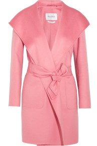 Max Mara Hooded Cashmere Coat Pink